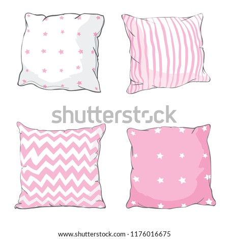 Vector cartoon decorative pillows. Hand drawn set of decorative pillows. sketch  illustration of pillow.