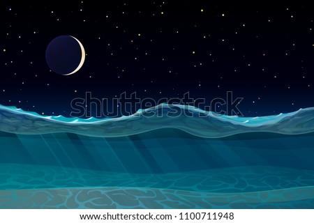 vector cartoon deep sea ocean