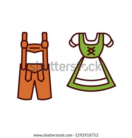 Vector Cartoon Dirndl And Lederhosen Emoji Icon Isolated ストックフォト ©