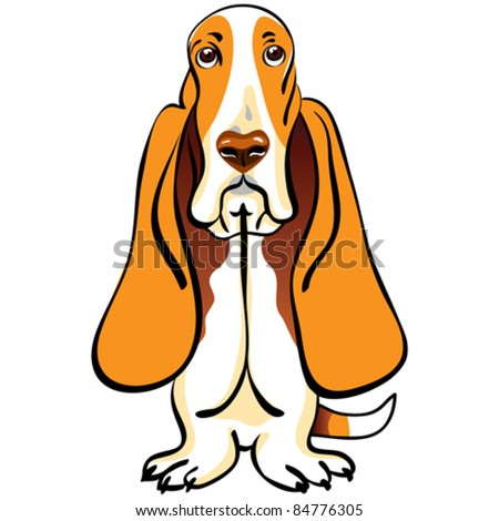 vector cartoon dog Basset Hound breed sitting