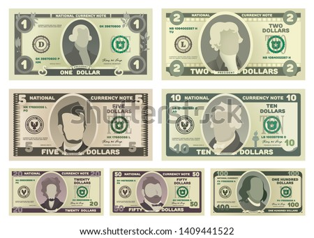 vector cartoon dollar banknotes