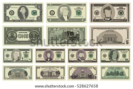 vector cartoon dollar banknotes