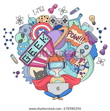 Vector cartoon doodle illustration, Background, wallpaper, pattern, texture, backdrop, Geek nerd gamer