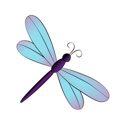 Vector cartoon dragonfly on white background.
