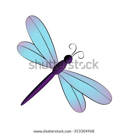 vector cartoon dragonfly on