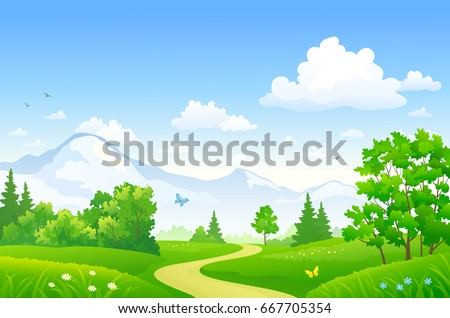 Vector cartoon drawing of a beautiful summer forest at the mountains