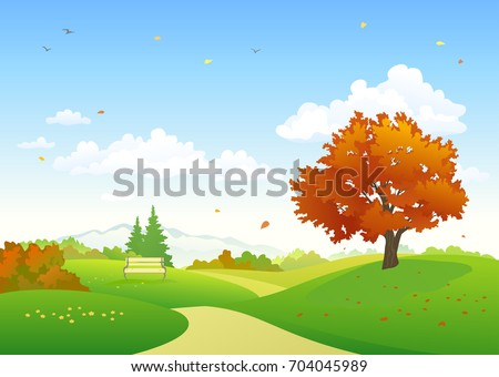 Vector cartoon drawing of a colorful autumn scenery