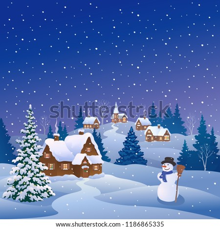 Vector cartoon drawing of a snowy Christmas village and a cute snow man, square scenery
