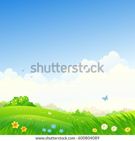 Vector cartoon drawing of a spring green landscape, square background