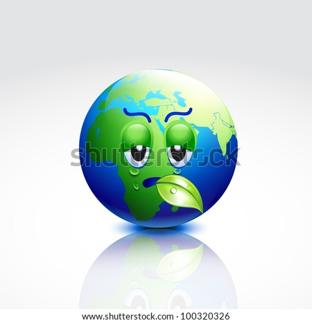 vector cartoon earth with sad emotion
