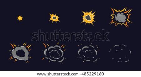 vector cartoon explosion frames