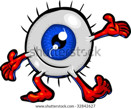 Vector cartoon Eyeball character in a welcoming or presenting pose.  Hand drawn artwork in loose, expressive style with NO gradients or blends.