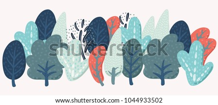 Vector cartoon fancy shapes trees forest in vintage colors on white isolated background #1044933502