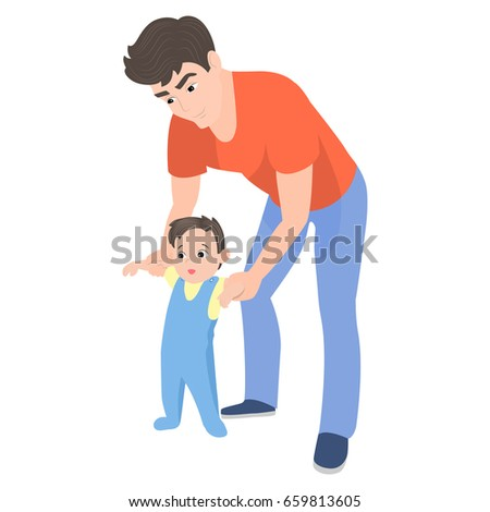 vector cartoon father teaching