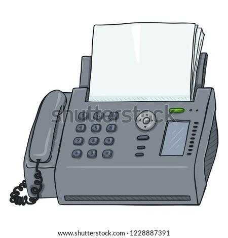 Vector Cartoon Fax Machine. Office Telephone