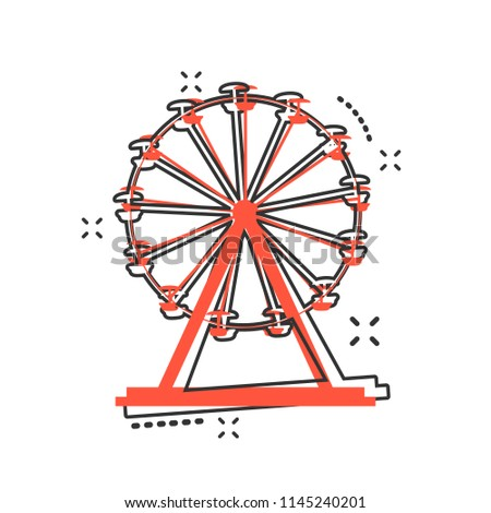 Vector cartoon ferris wheel icon in comic style. Carousel in park sign illustration pictogram. Amusement ride business splash effect concept.