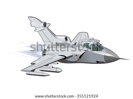 vector cartoon fighter plane