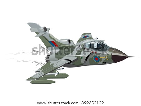 vector cartoon fighter plane