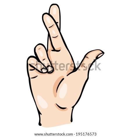 Fingers Crossed Logo Vector Cartoon Fingers Crossed