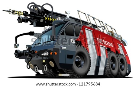 Vector Cartoon Fire Truck