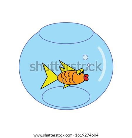 vector cartoon fish in aquarium