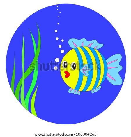 Vector cartoon fish in the sea EPS8