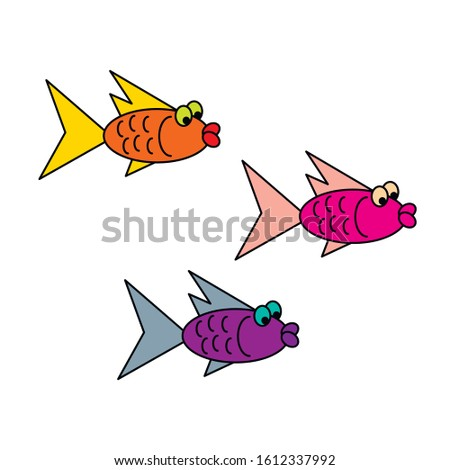 vector cartoon fishes isolated