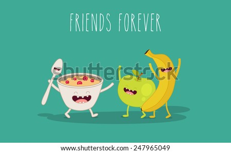 vector cartoon fruit diet