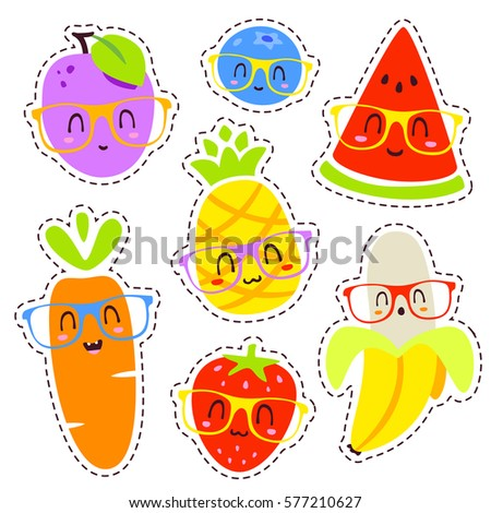 vector cartoon fruits in glasses patch set