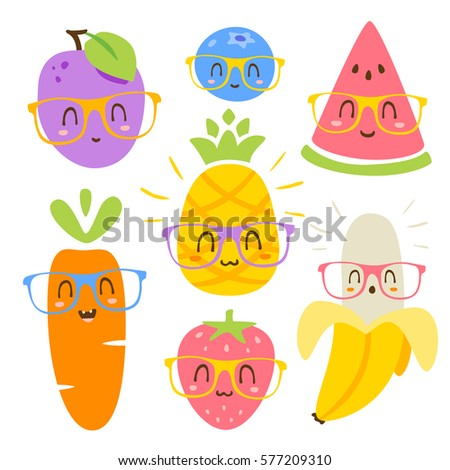 vector cartoon fruits in glasses set