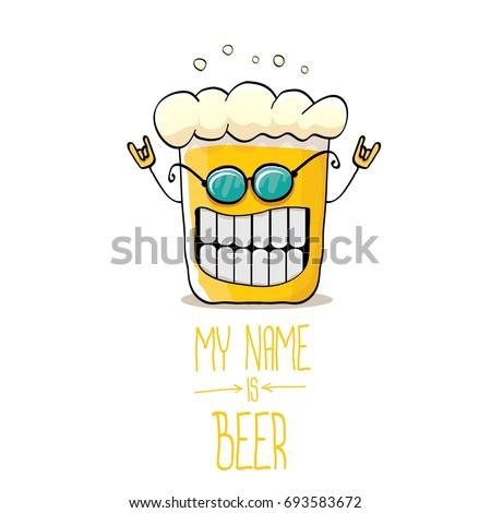 vector cartoon funky beer glass