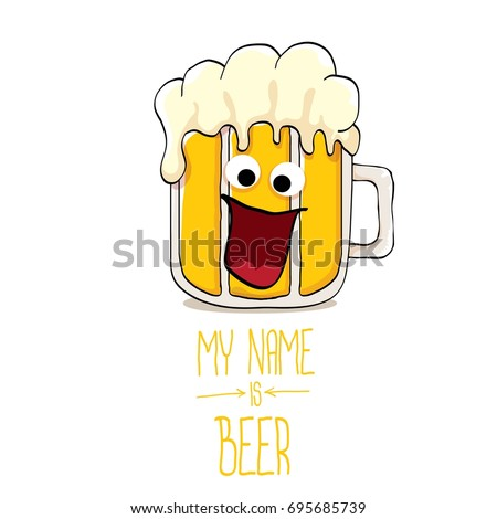 vector cartoon funky beer glass