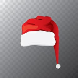 vector cartoon funky red Santa hat icon. merry christmas santa hat design element for banners or greeting cards