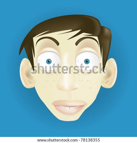 vector cartoon funny and caricature character face with big ears for animation