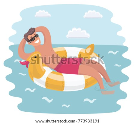 Vector cartoon funny illuatratiion of Young man in sunglasses resting on floating inflatable ring. Young man floating on inflatable ring, enjoying summer vacation