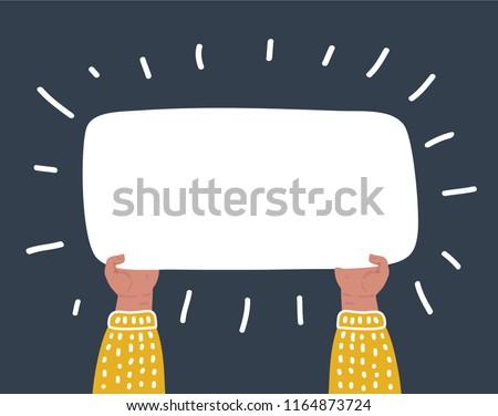 Vector cartoon funny illustraation of Hands holding big blank paper on dark background.