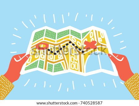 Vector cartoon funny illustration of Folded Paper Map In human Hands. Strarting point, route, destination. Visual concept in colorful modern style.