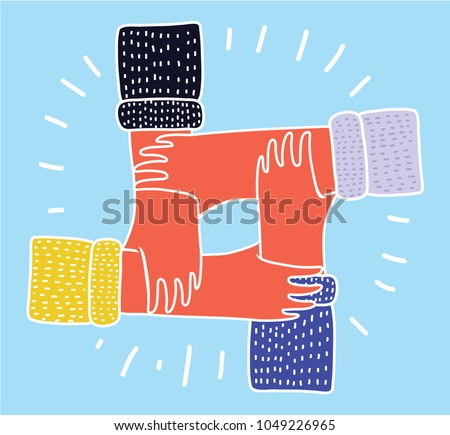 Vector cartoon funny illustration of Friendship Circle. Four Hands different colors Holding Each Other as an Interracial Cooperation.