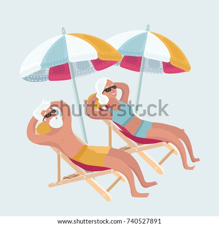 Vector cartoon funny illustration of Happy Elderly Couple Enjoying Beautiful Sunset or taking sunbath at the Beach. Comic charachters on white isolated background.