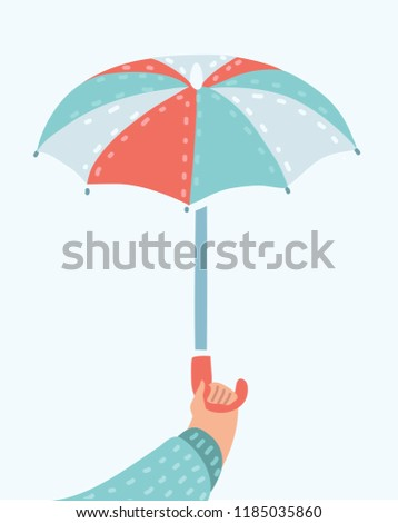 Vector cartoon funny illustration of human hand holding ope umbrella. Object on isolated white background.