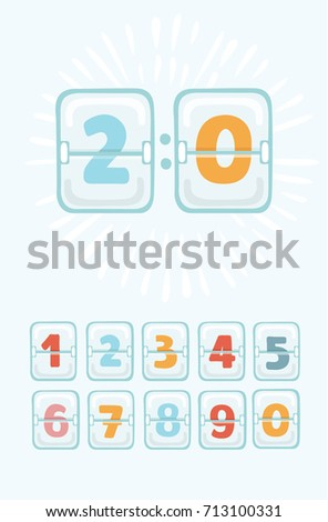 Vector cartoon funny illustration of mechanical scoreboard. Colorful Timetable With set numbers. Analog Clock Panel. Countdown Timer.