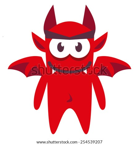 vector cartoon funny red demon