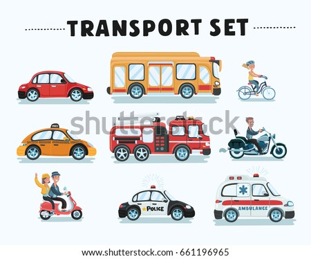 Vector cartoon funny set of different type of transport. Public Service, Construction And Road Working Cars. Ambulance, school bus, police fire truck and taxi, motorbike, bicycle, scooter.