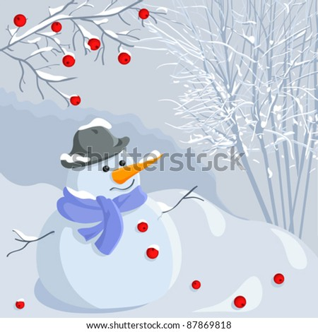 vector cartoon funny snowman in
