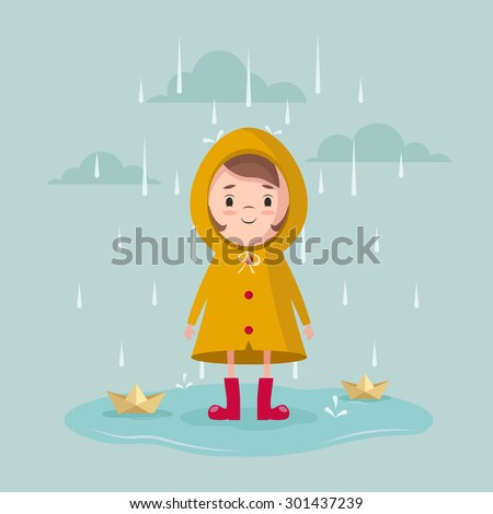 Vector Cartoon Girl with Paper Ships Under the Rain