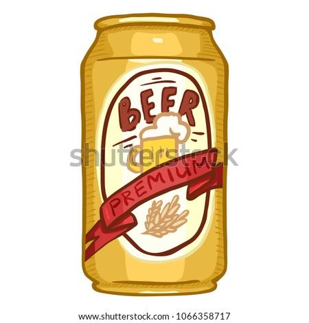 Vector Cartoon Gold Aluminium Can of Premium Beer