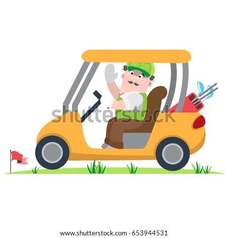 vector cartoon golfer in golf