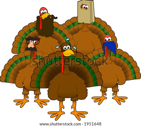 Vector cartoon graphic depicting a group of disguised turkeys