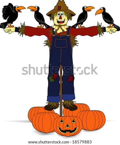 Cute cartoon scarecrow
