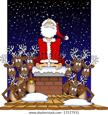 vector cartoon graphic depicting a Santa Claus stuck in a chimney